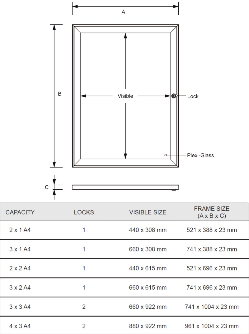 Lockable Notice Board Specifications