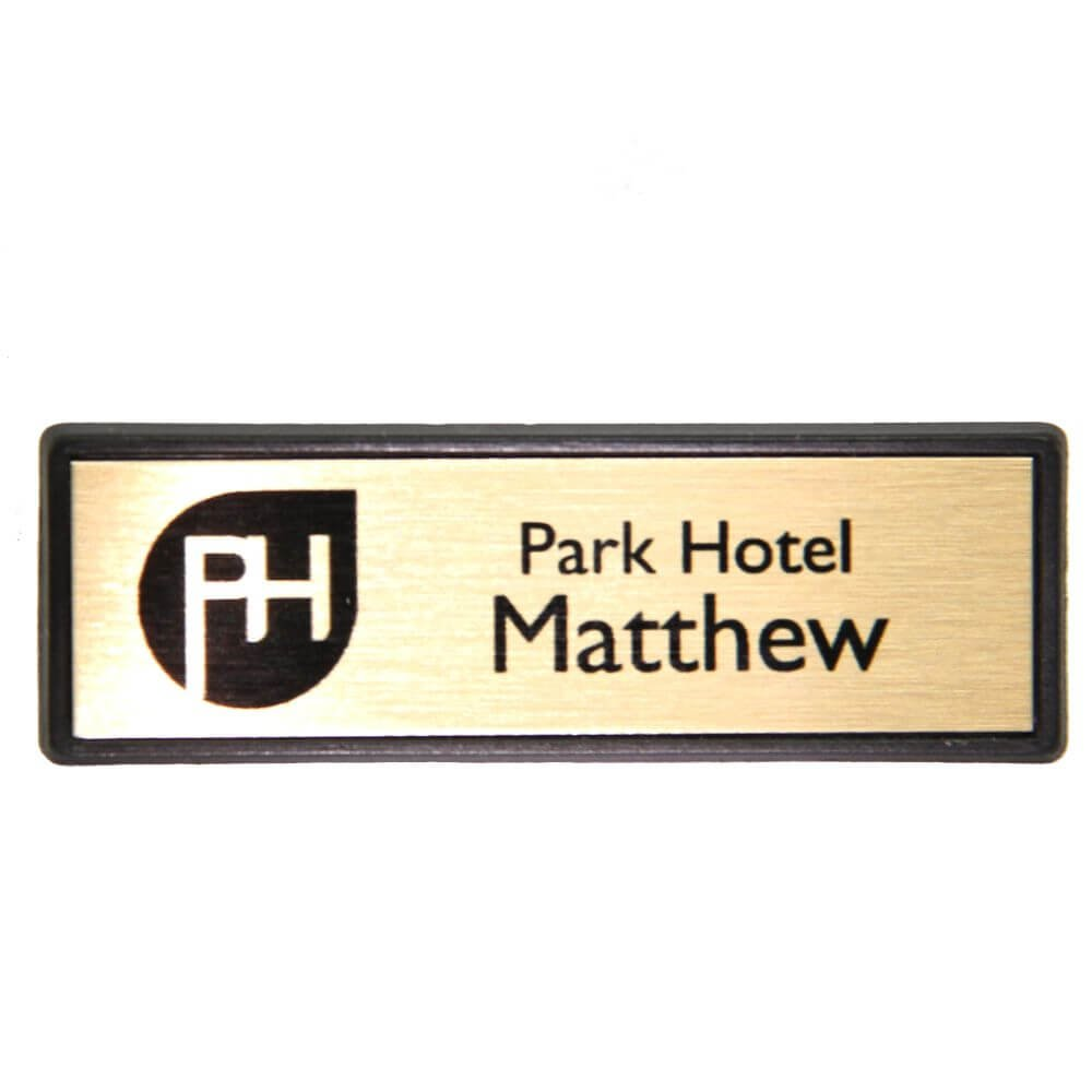 Name Badges Small Rectangle Framed - Gold