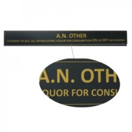 Gold Text on Black Licensee Name Plates