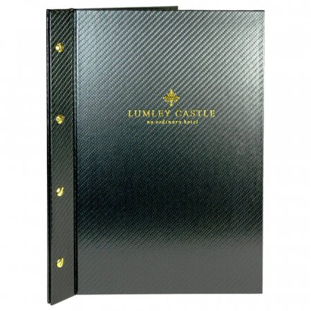 Black Carbon Menu Cover with Gold Screw Fixings