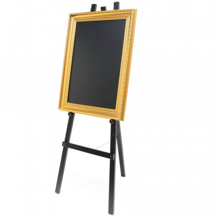 Tall Black Easel with Black Framed Chalkboard