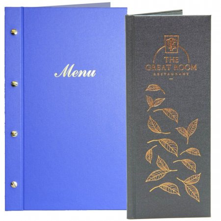 Mid Blue Buckram Menu Cover