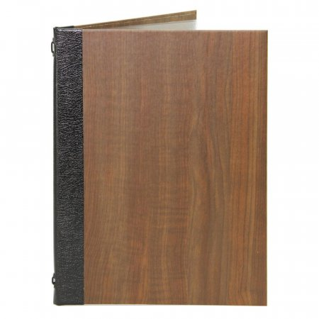 Pine Effect Menu Cover with Black Leather Spine