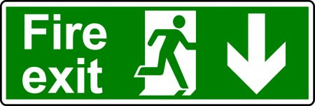 Fire Exit Sign - Man with Down Arrow