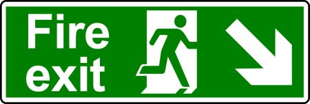 Fire Exit Sign - Man with Down Right Arrow