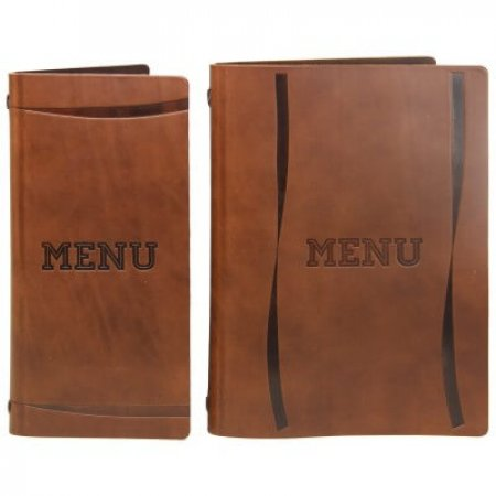 Full Hide Leather Menu Covers with Flat Spine