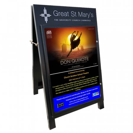 Black pavement sign with lockable poster holder