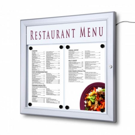 Lockable LED Menu Case with Logo 2 x A4  Insert (side by side - A3)