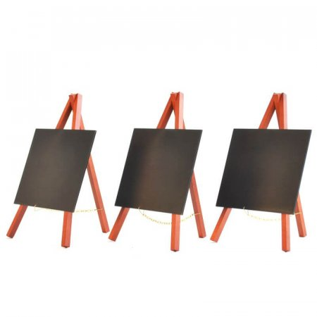 pack of 3 Mahogany Mini Easels with Chalkboard