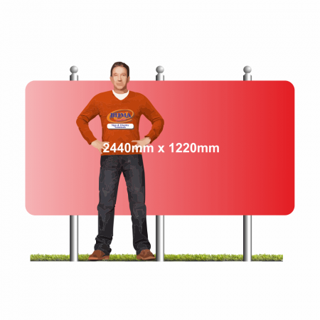 2440mm x 1220mm wide format sign on 2 posts