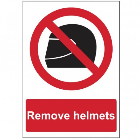Remove Helmets Sign