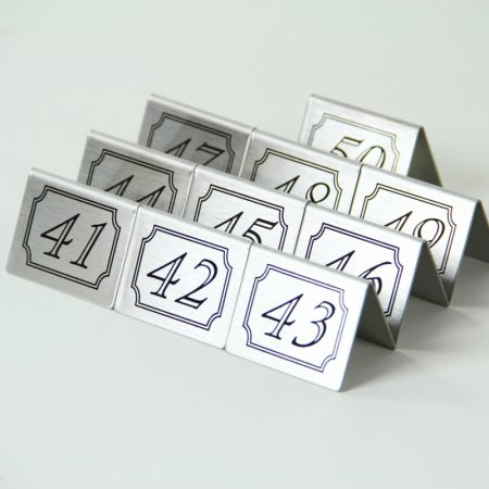 Stainless Steel Double Sided Table Numbers Tents 41-50