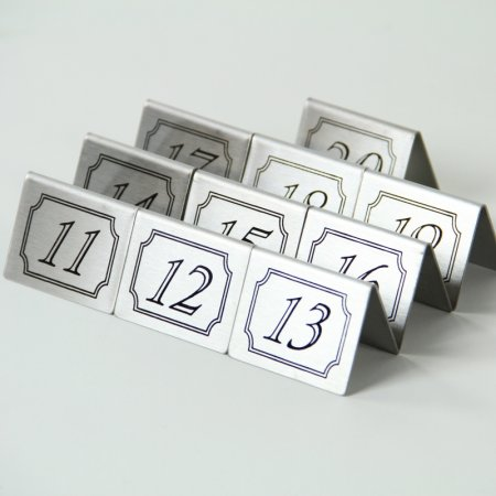 Stainless Steel Double Sided Table Numbers Tents 11-20