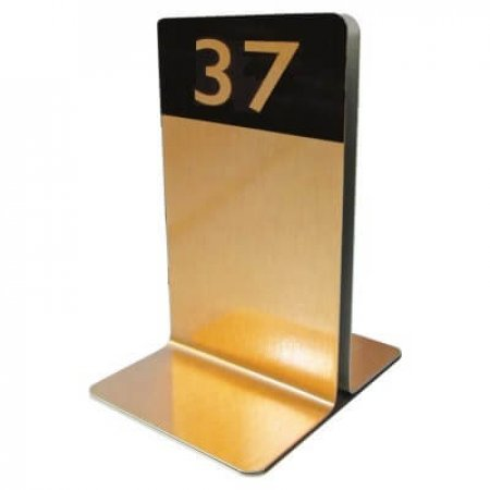 Gold Single Channel Menu Holder with Number