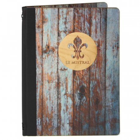 Wooden Menu Cover, Weathered Finish with Logo