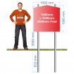 Post Mounted Church Top Sign 1000 x 1000mm on 2500mm Post