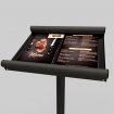 Maitre 'd Menu Information Stand Antique Pewter