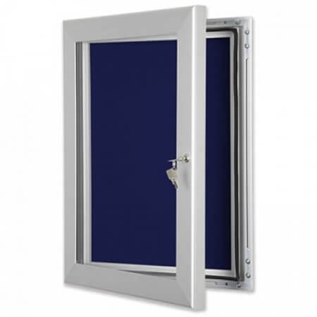Blue Felt Outdoor Lockable Felt Noticeboard