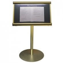 Free Standing Menu Case, Polished Gold